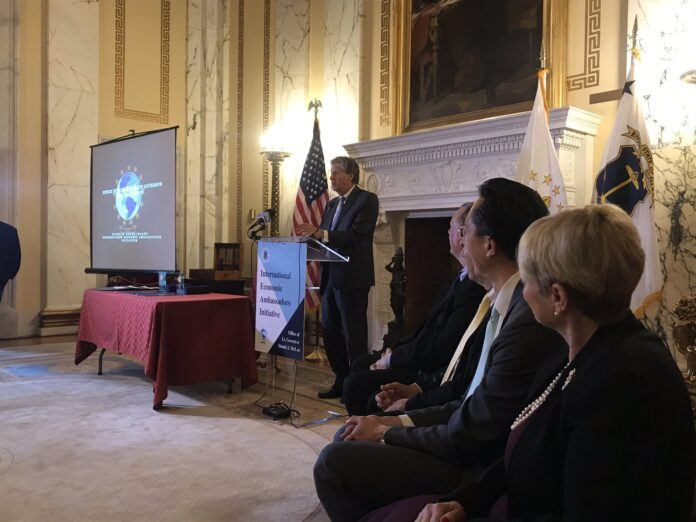 LT. GOV. DANIEL J. MCKEE announces the launch of the International Economic Ambassadors Initiative Tuesday. / COURTESY OFFICE OF THE LIEUTENANT GOVERNOR