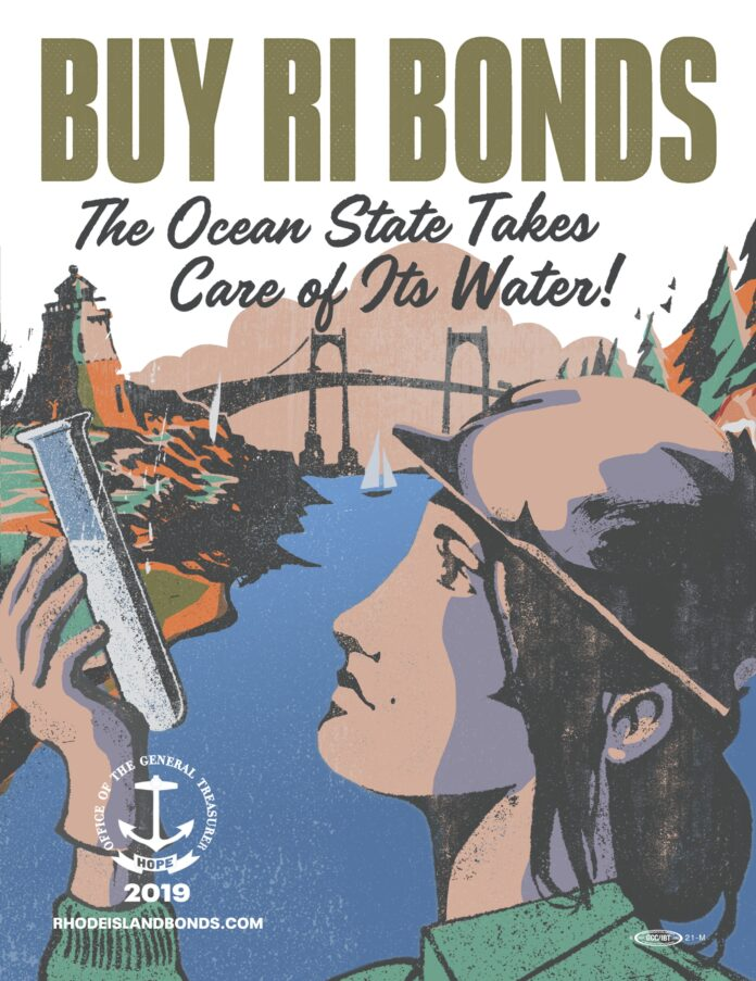 R.I. GENERAL TREASURER Seth Magaziner launched a campaign to encourage individuals to purchase Rhode Island state bonds. Above, a bond advertisement illustrated by local artist Simon Allen. / COURTESY R.I. GENERAL TREASURER'S OFFICE