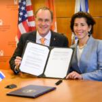 BEN-GURION University of the Negev President Daniel Chamovitz and Gov. Gina M. Raimondo sign a memorandum of understanding in Beer-Sheva, Israel, on Tuesday. / COURTESY A.L. COMMUNICATIONS