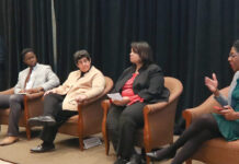 DIVERSE DISCUSSION: Panelists discuss the evolution of diversity and inclusion initiatives in the workplace at Providence Business News' Diversity & Inclusion Summit & Awards Program at the Crowne Plaza Providence-Warwick in Warwick on Dec. 5. From left: moderator PBN Editor Michael Mello, Guillaume Bagal, Marianne Monte, Kim Lee and Nirva LaFortune. / PBN PHOTO/PAMELA BHATIA