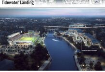 A RENDERING of a proposed soccer stadium and related developments around Pawtucket's waterfront. / COURTESY R.I. GOVERNOR'S OFFICE