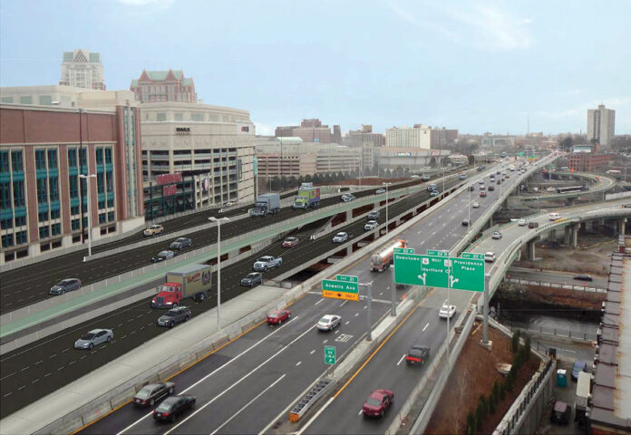A rendering of reconfigured northbound lanes after construction of the Interstate 95 viaduct is complete in 2025. / COURTESY R.I. DEPARTMENT OF TRANSPORTATION