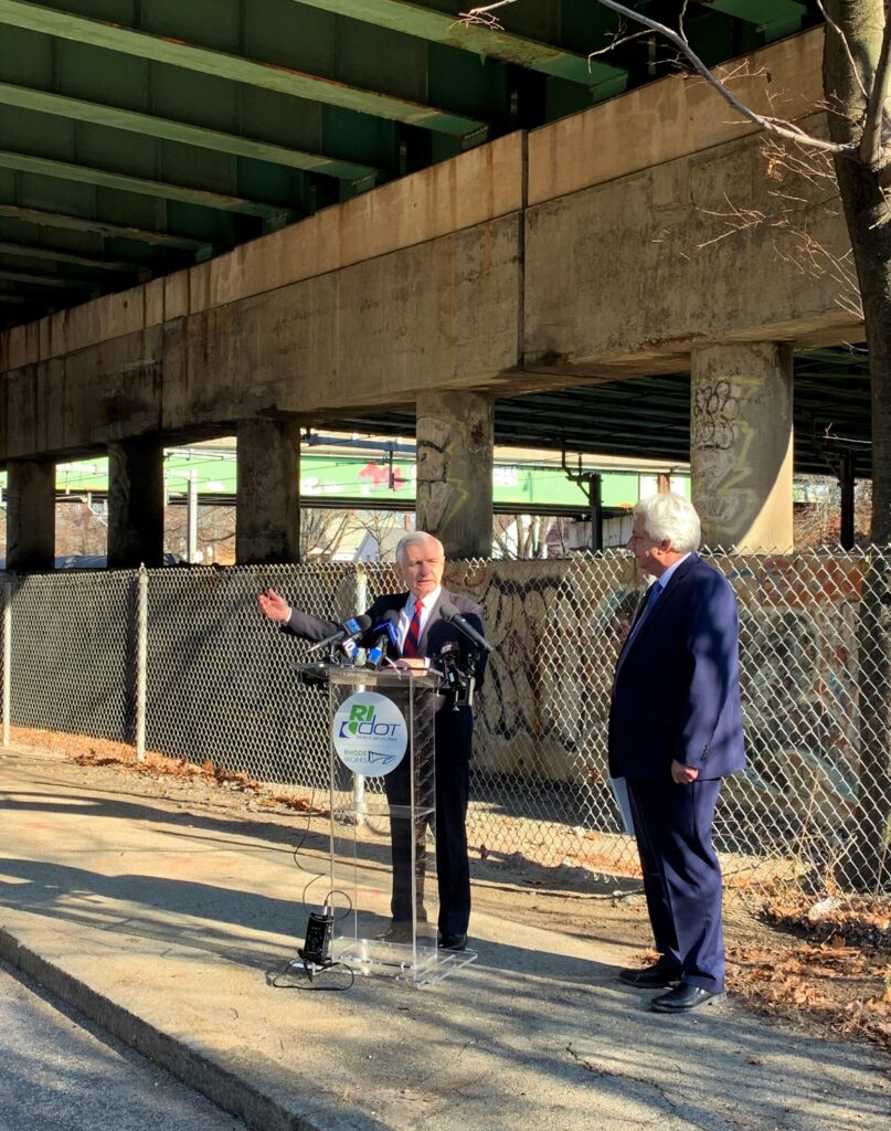 SEN. JACK REED, left, announces an additional $50 million in federal funding for Rhode Island bridge improvements and repairs. On his right, RIDOT Director Peter Alviti Jr. / COURTESY OFFICE OF SEN. JACK REED