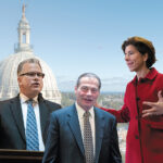 BUSY SESSION: From left, House Speaker Nicholas A. Mattiello, Senate President Dominick J. Ruggerio and Gov. Gina M. Raimondo must work together to tackle a host of issues in the upcoming legislative session, including a structural budget deficit, the state lottery contract, the minimum wage and marijuana legalization and regulation. / PBN PHOTO AND FILE PHOTOS/MICHAEL SALERNO