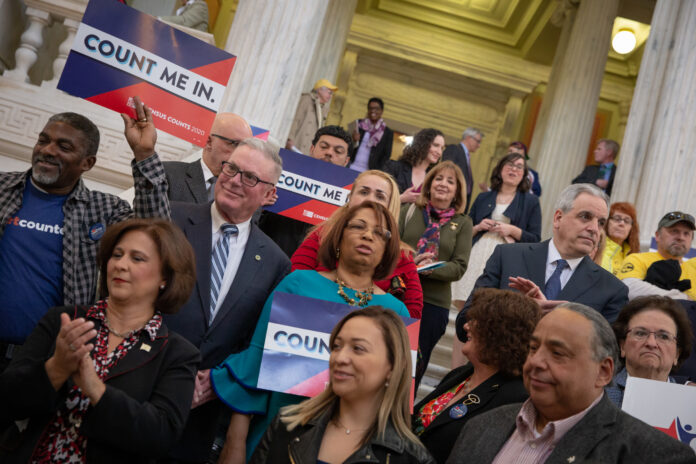 ELECTED OFFICIALS and advocates are pictured at an R.I. Statehouse event last April to launch the state's Complete Count efforts. The Rhode Island Foundation announced Monday that 26 nonprofit organizations received close to $300,000 in total for outreach and education that will encourage participation in the 2020 census. / COURTESY RHODE ISLAND FOUNDATION