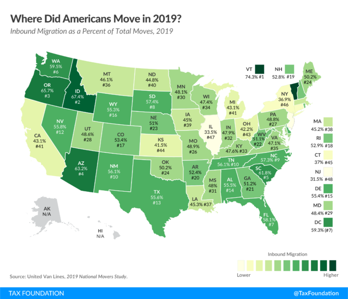 MORE THAN HALF of moves conducted by United Van Lines in and out of Rhode Island saw customers moving to the Ocean State in 2019. / COURTESY TAX FOUNDATION